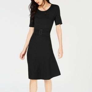 Maison Jules Belted Midi Dress Black